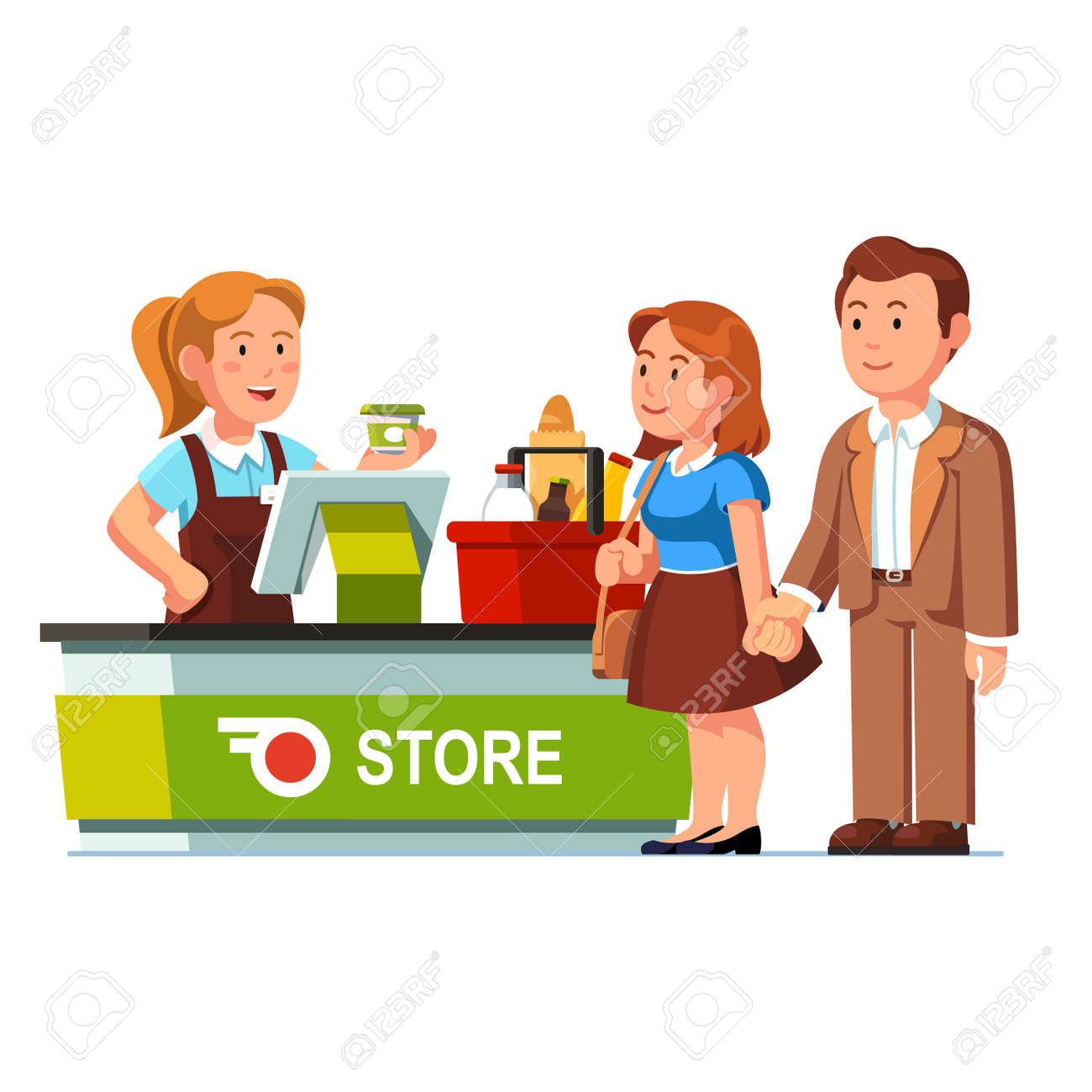 レジ チェック アウト カウンターでリンギングの食料品食料品店や