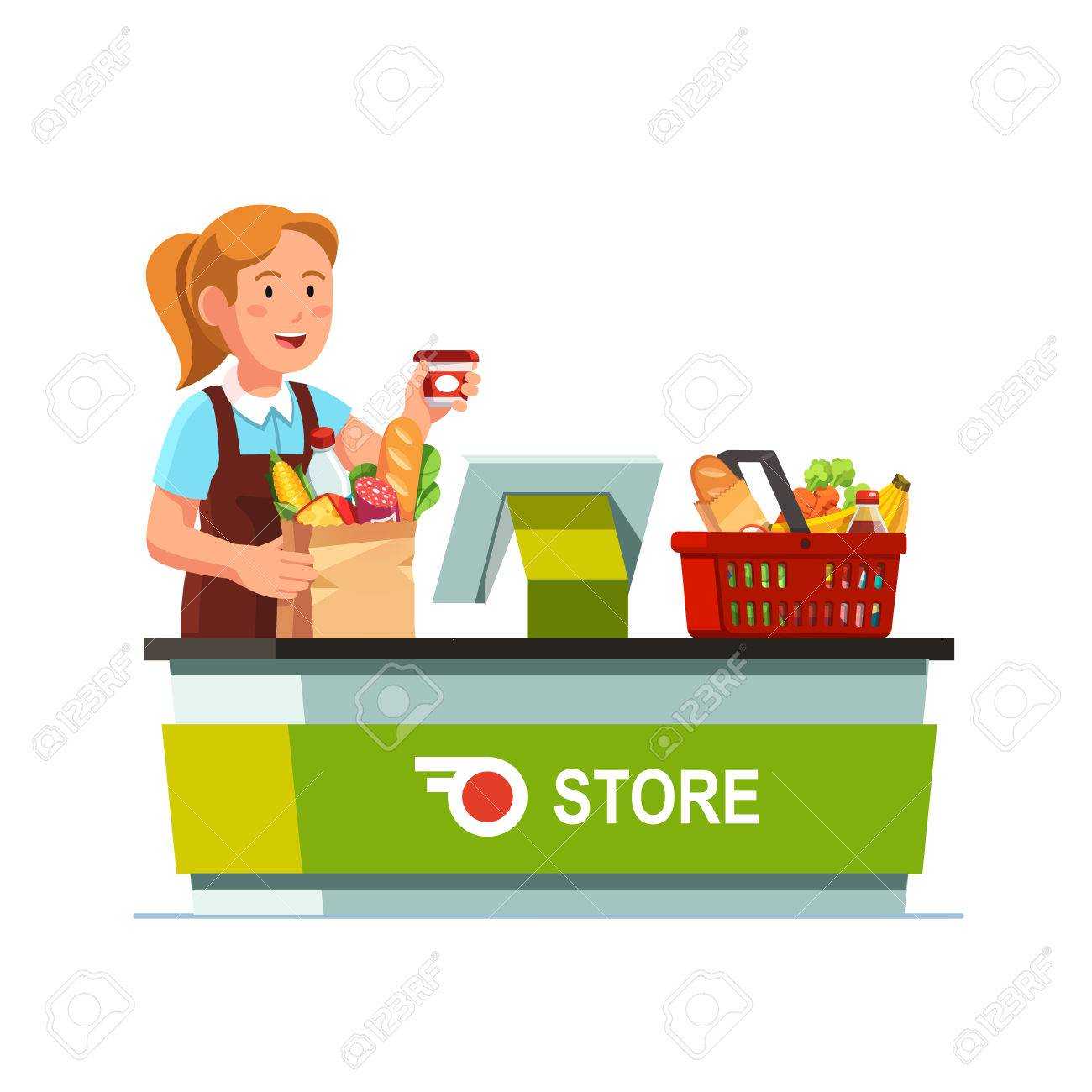 Grocery store worker clipart