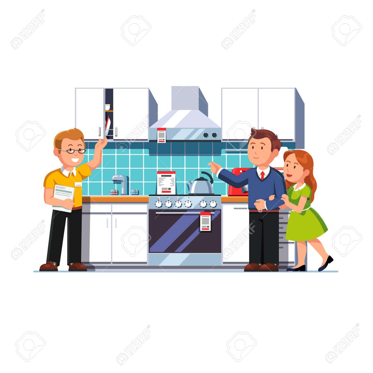 Shop Assistant Salesman Showing Home Kitchen Furniture Appliances