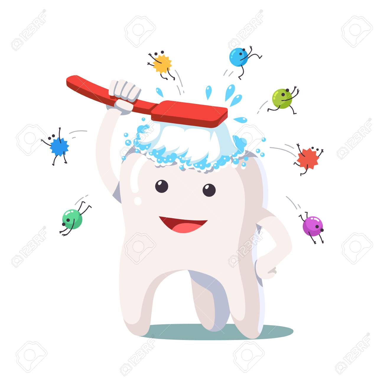 Happy white tooth brushing himself with toothbrush - 83886887