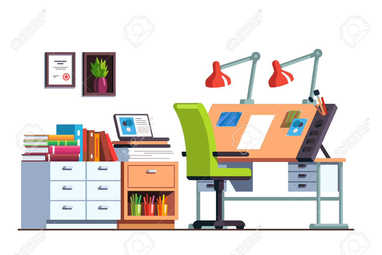 Workshop Or Engineer Office Room With Drawing Desk Royalty Free ...