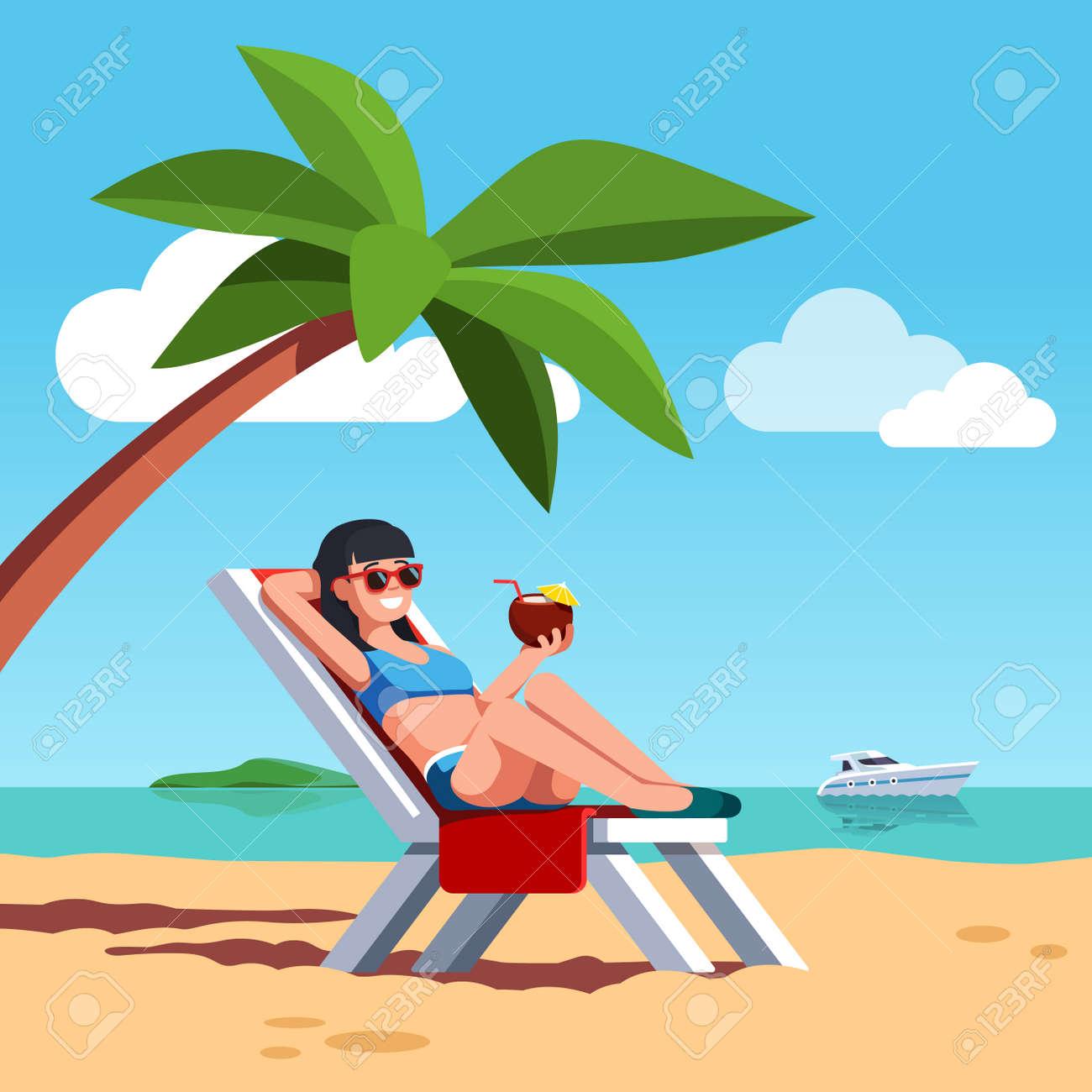 Woman in swimsuit sunbathing at beach. - 96325804