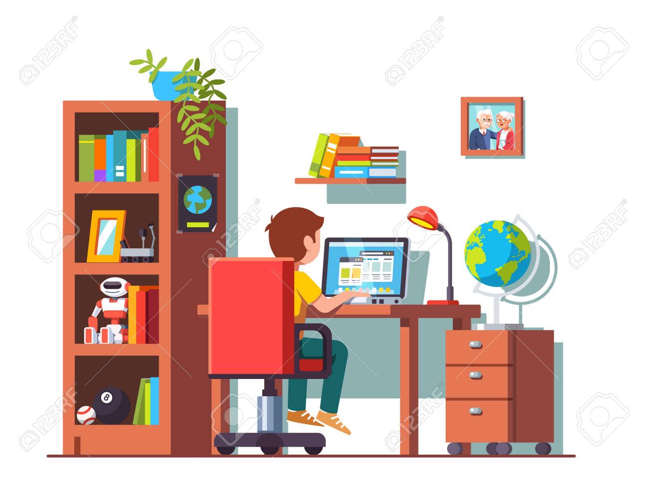Student boy sitting at desk, doing school homework Vector illustration. - 96251964