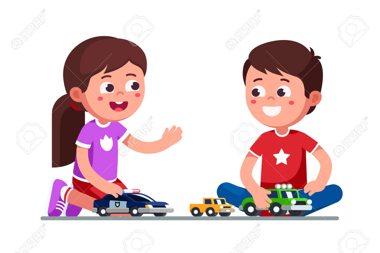 Smiling Girl And Boy Kids Playing With Toy Cars Royalty Free Cliparts Vectors And Stock Illustration Image 130348135