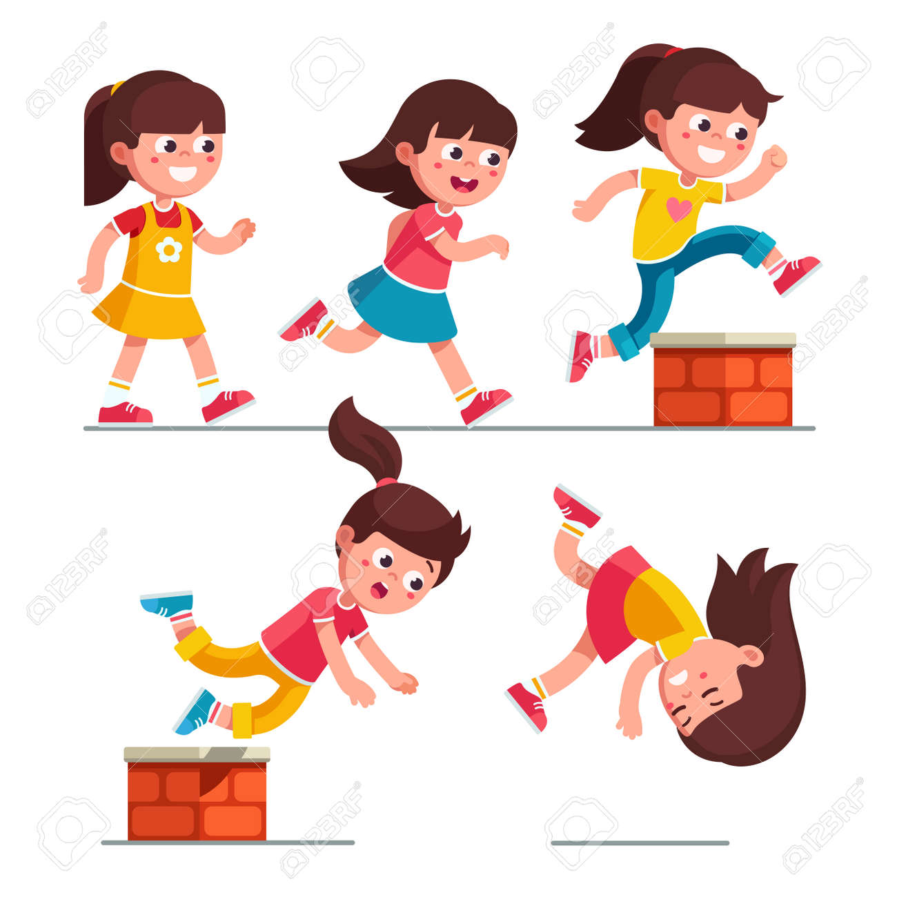 Smiling girl kid walking, running, jumping, stumbling on small brick obstacle and falling down. Child cartoon characters set. Childhood trip over hazard. Flat vector illustration isolated on white - 130198231