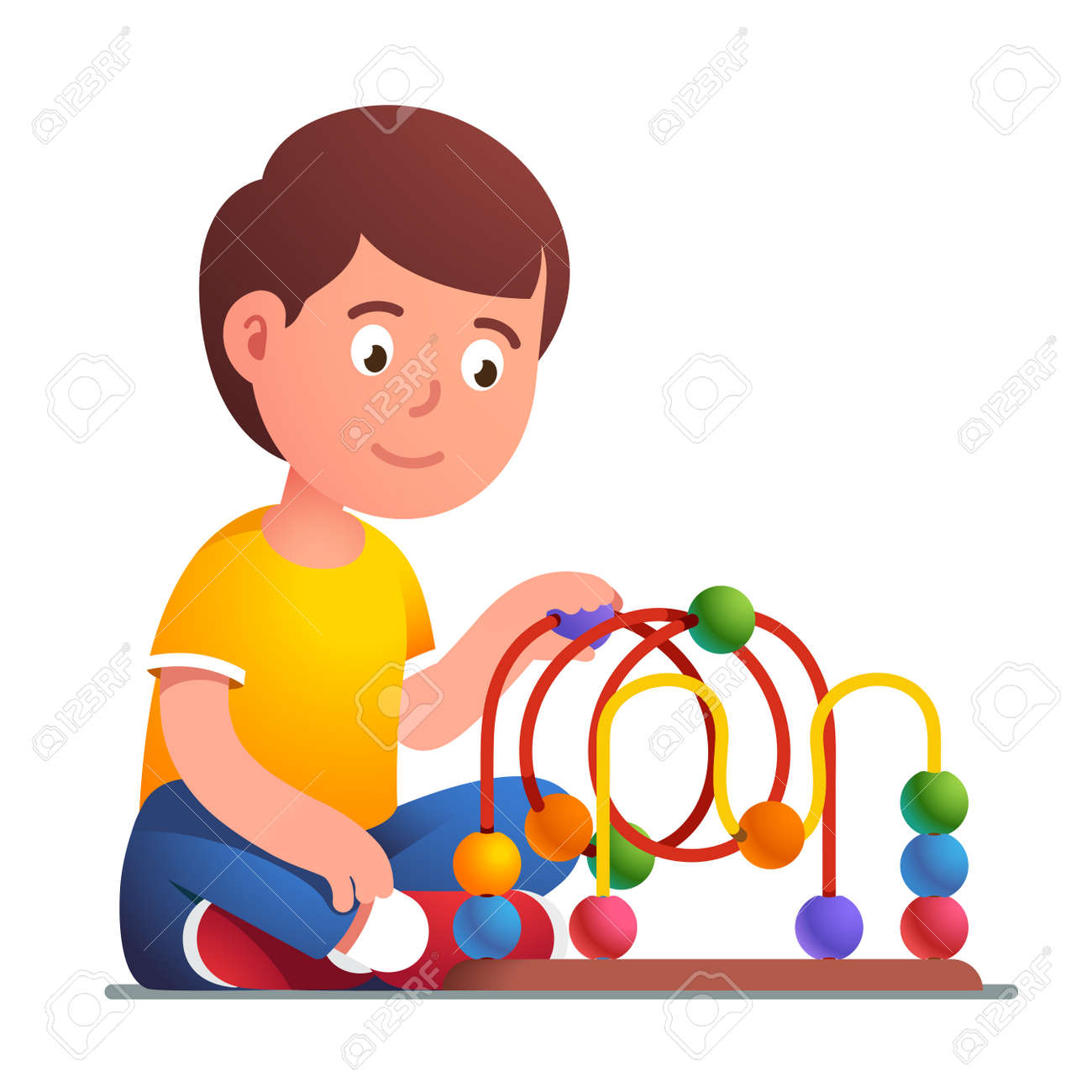 Boy playing wooden bead maze roller coaster toy - 153086091