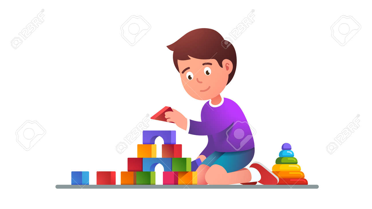 Kids playing wooden blocks building tower toy - 153086092