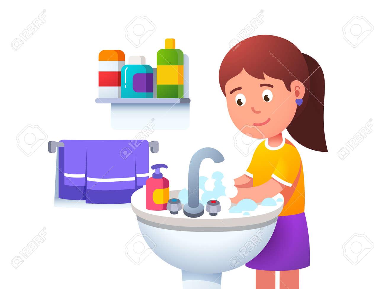 Kid girl washing hands at washbowl sink basin - 153086093