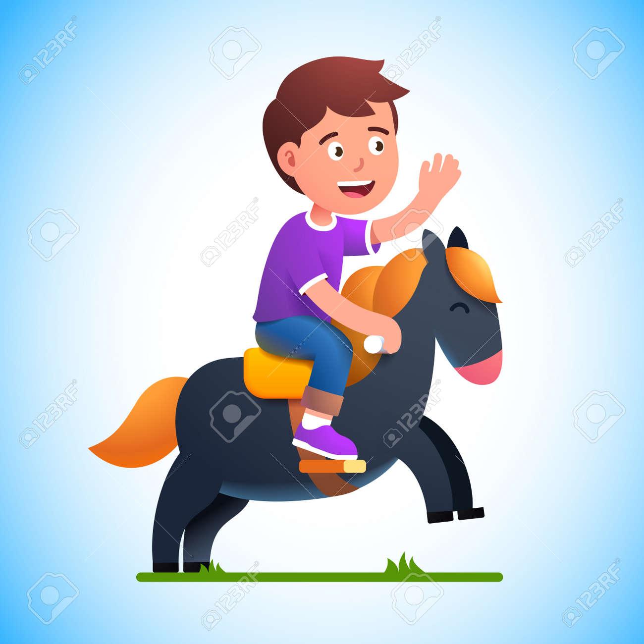 Preschool kid boy play riding toy horse - 153086094