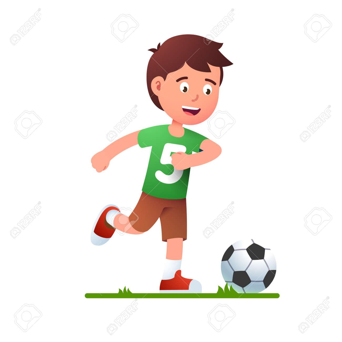 Boy playing soccer game. Kid in football uniform - 153086098
