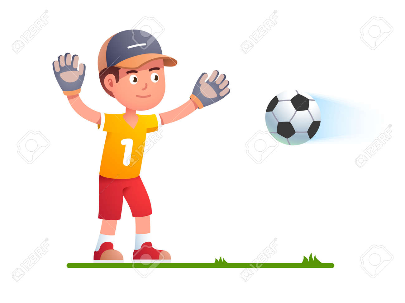 Goalkeeper boy kid trying to catch soccer football - 153086100