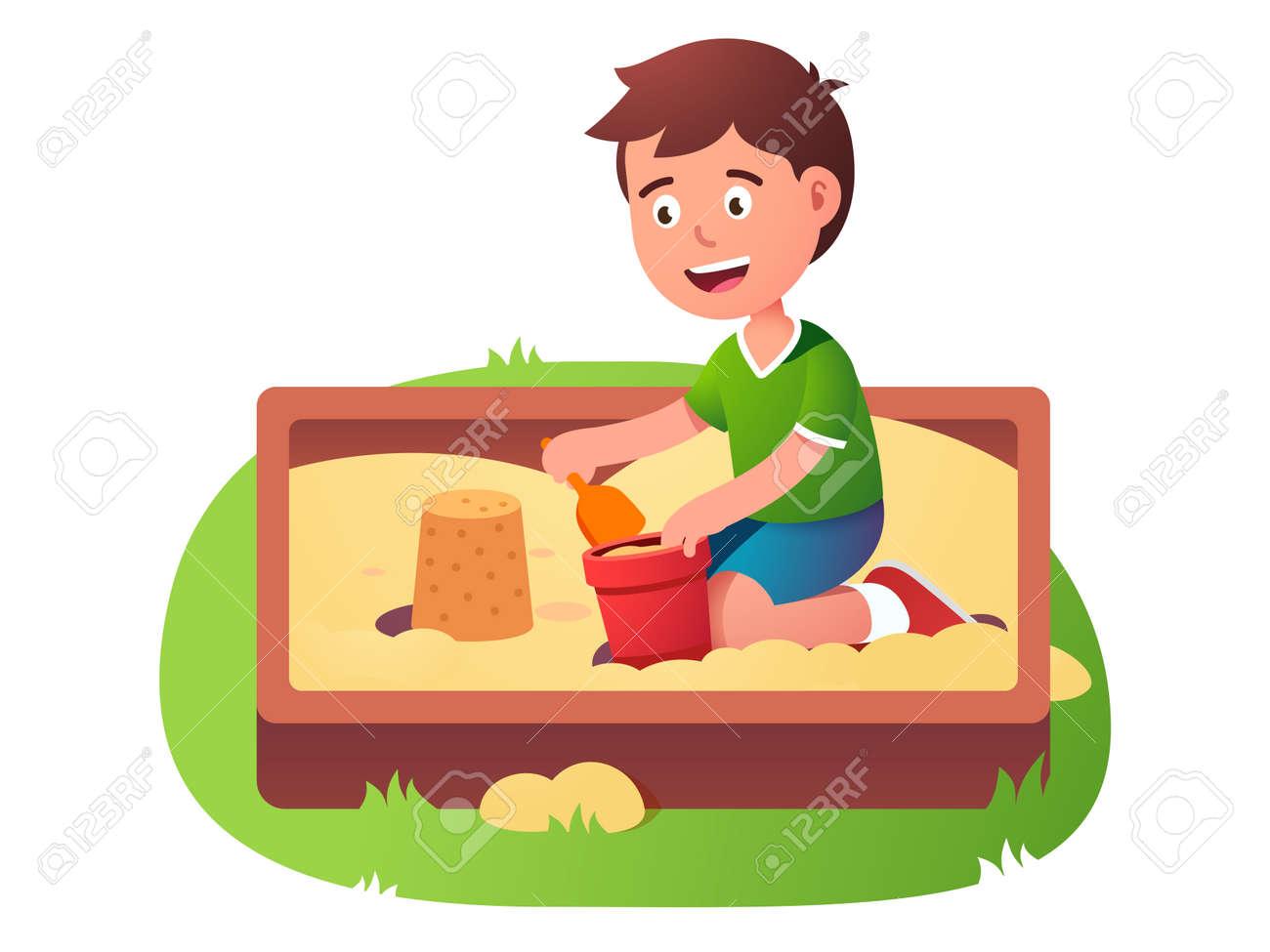 Child sandbox game. Happy kid play in sand pit - 153086102