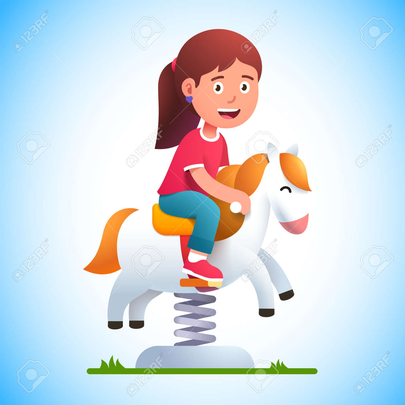Preschool kid play riding rocking horse on spring - 153086103