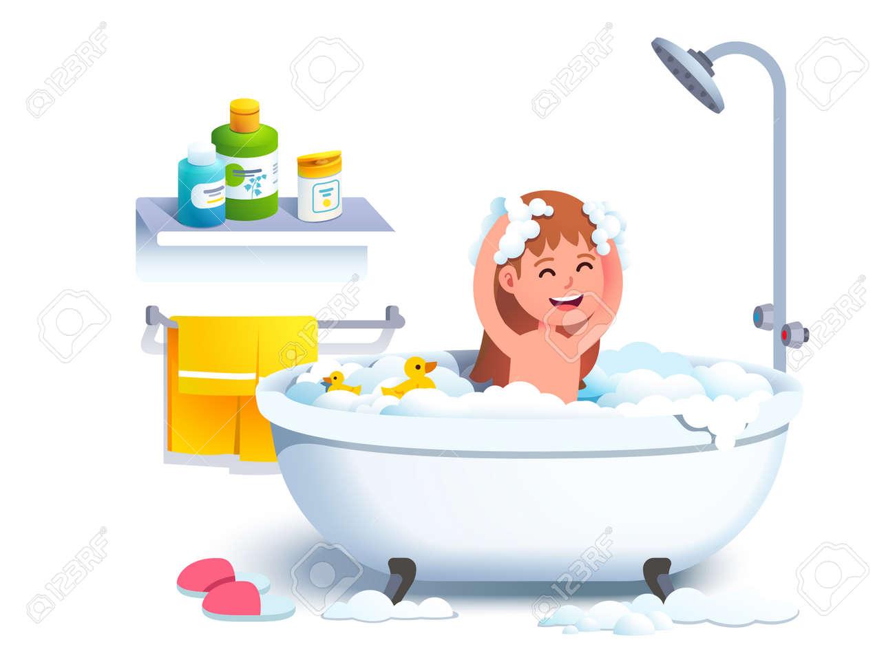 Girl kid having bath washing head and body - 154063838