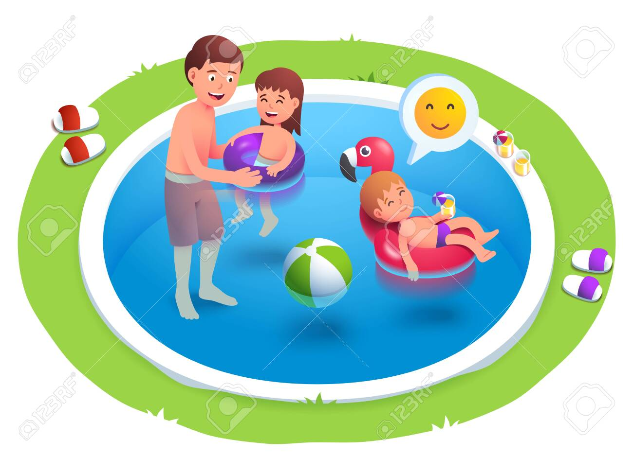Kids and father swimming in back yard pool - 154063843