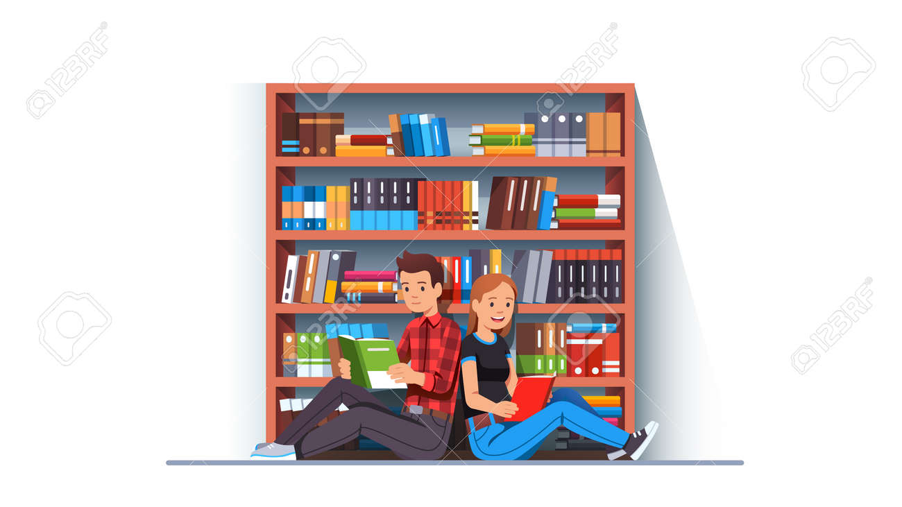 Man and woman couple reading books together - 153266849