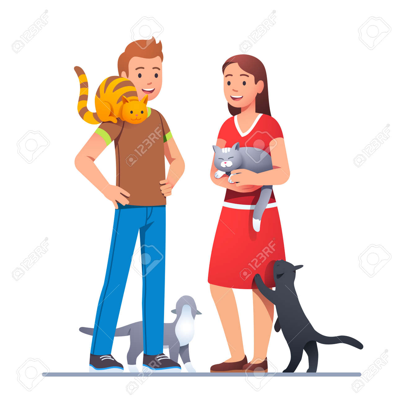 Two cat lovers meeting with their pets and talking - 153266850