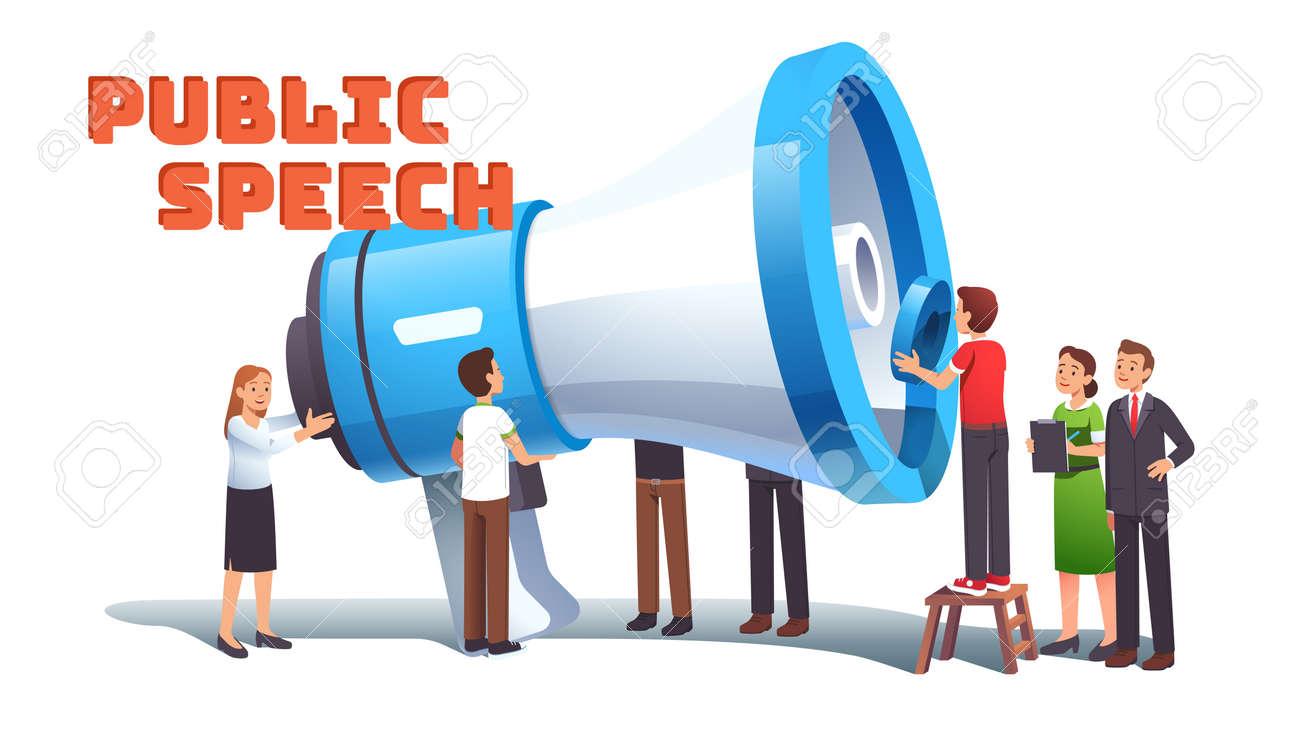 Woman public speech concept. Group of activists - 153266854