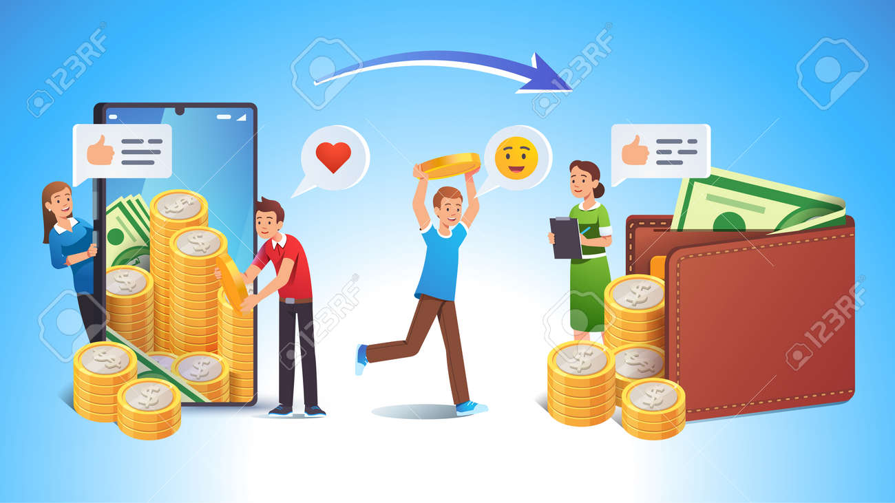 Cashing online app or bank earnings income concept - 153266856