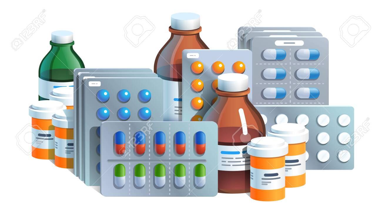 Various meds. Pills, glass bottles with medicine - 153266857