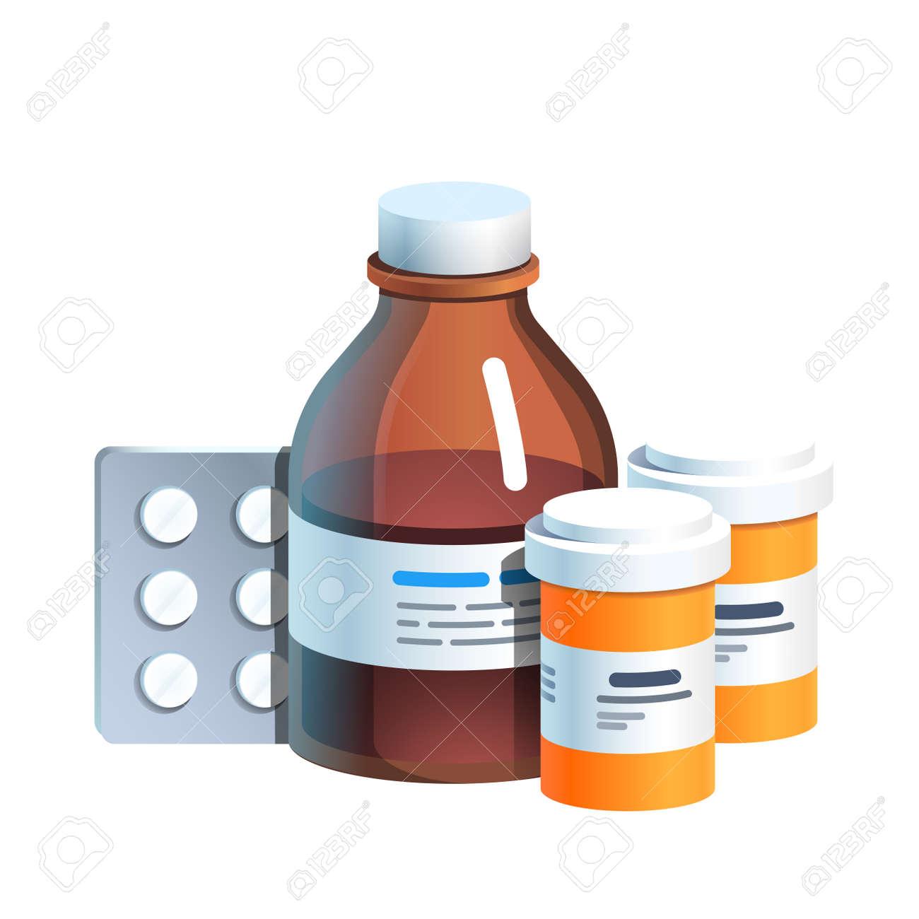 Meds, pill blister, glass bottle with medicine - 153266858