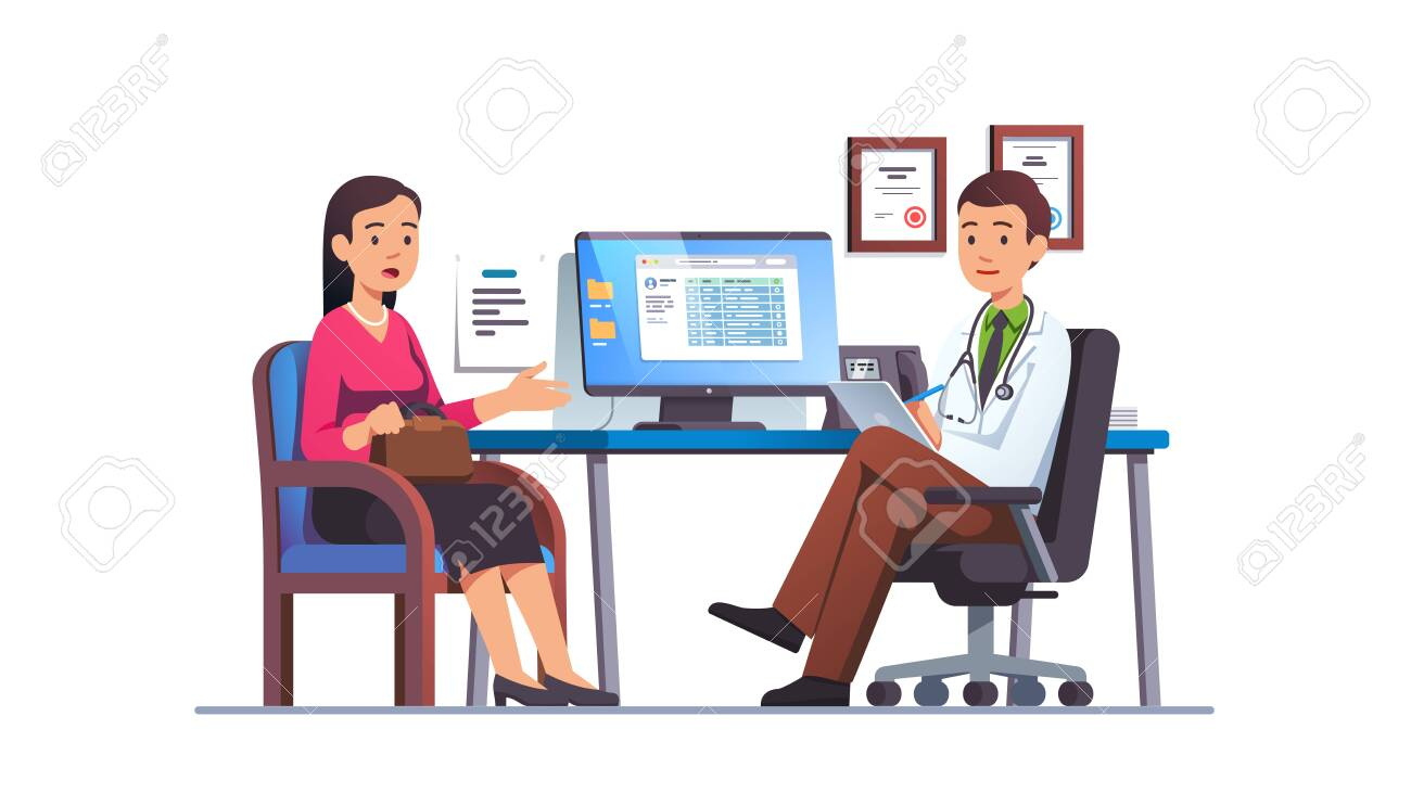 Woman talking to primary care physician man - 153267074
