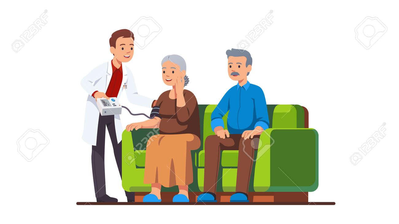 Doctor or nurse visiting elderly people family - 153267087