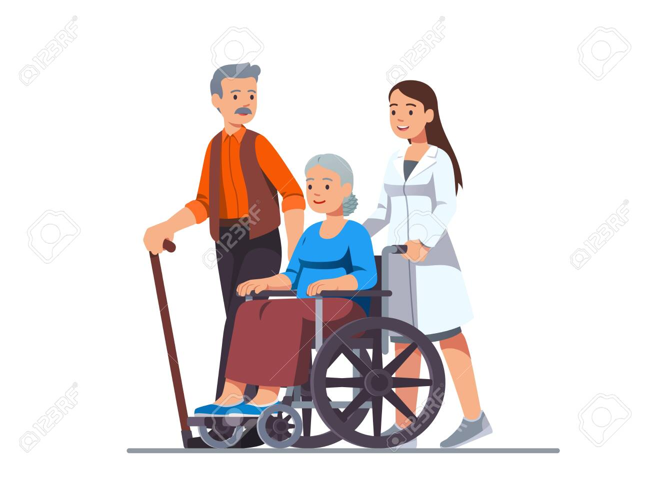 Nurse pushing wheelchair with sick old woman - 153267091
