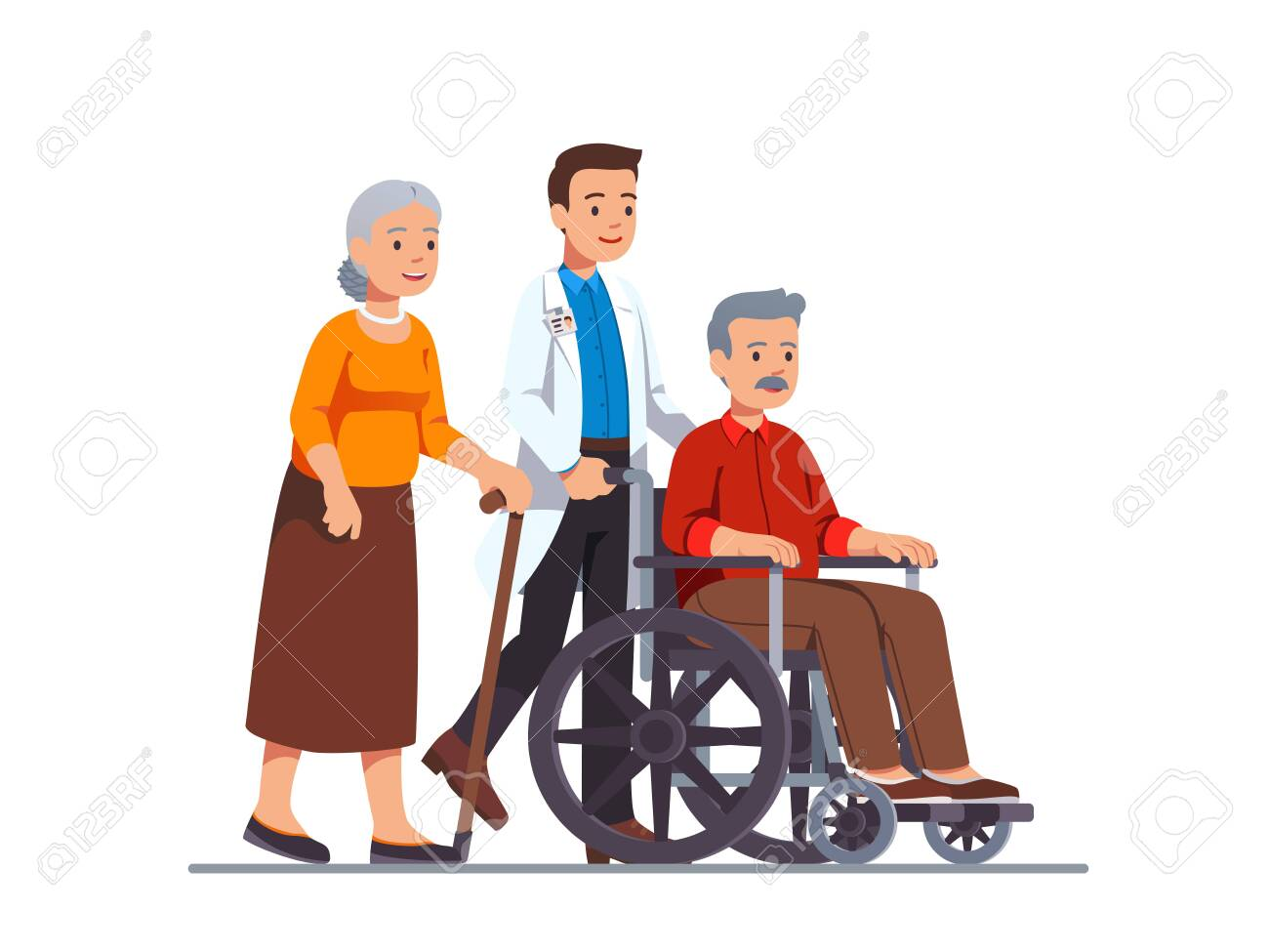 Family doctor pushing wheelchair with sick old man - 153267092