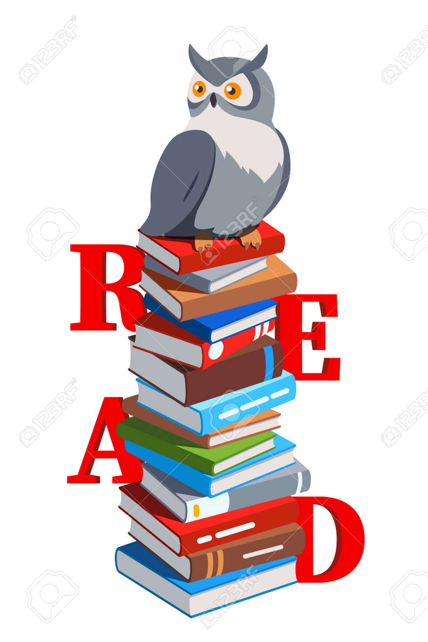 Owl sitting on stack of paper hardcover books - 153267097