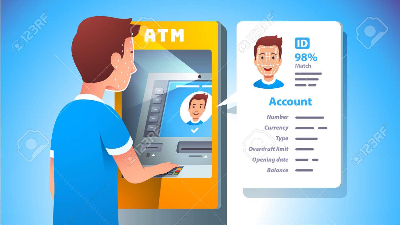 ATM face recognition. Man using cash machine - 153267103