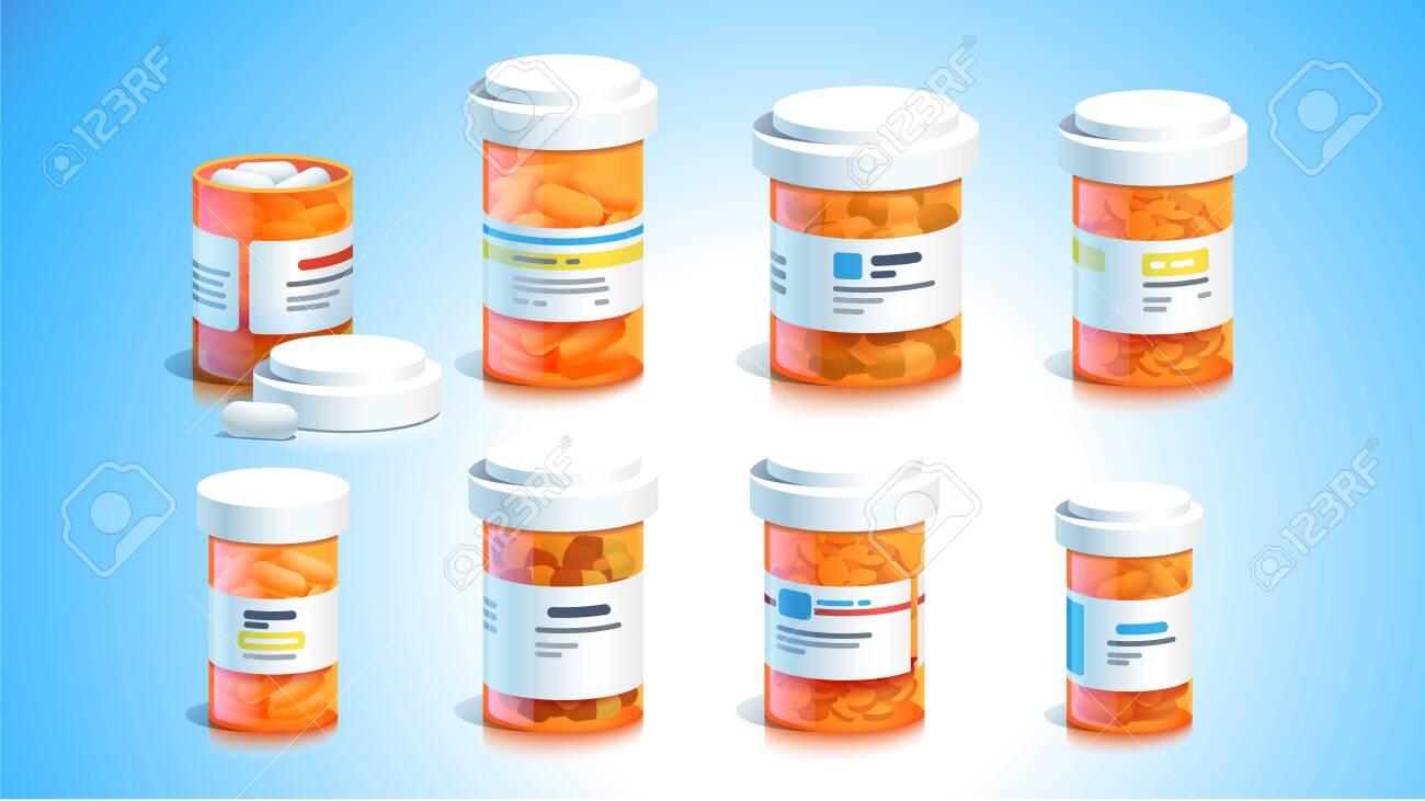 Pill bottles. Open plastic pills tube with cap - 153267117