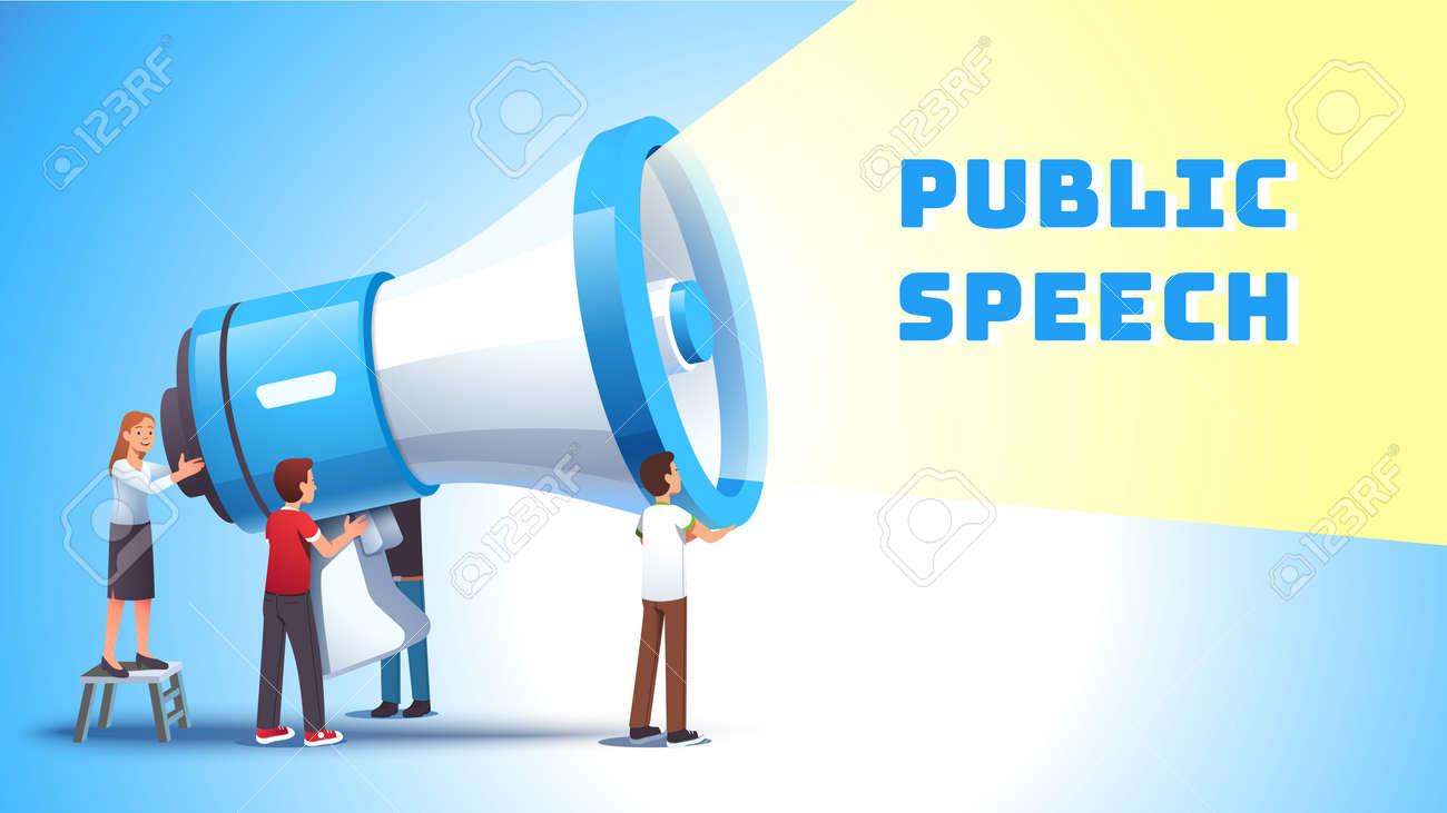 Woman shouting to bullhorn. Public speech concept - 153267120