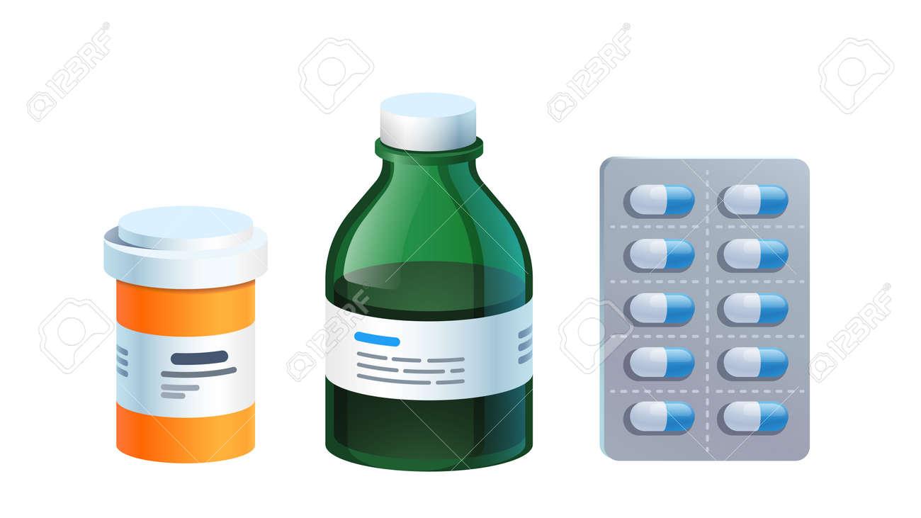 Meds, pill blister, glass bottle with medicine - 153267200