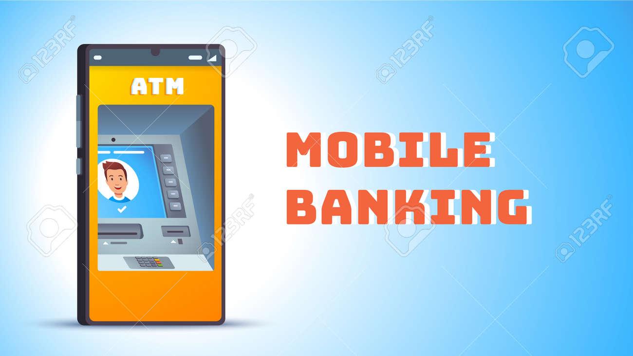 ATM. Cash machine on smart cellphone screen - 153267201