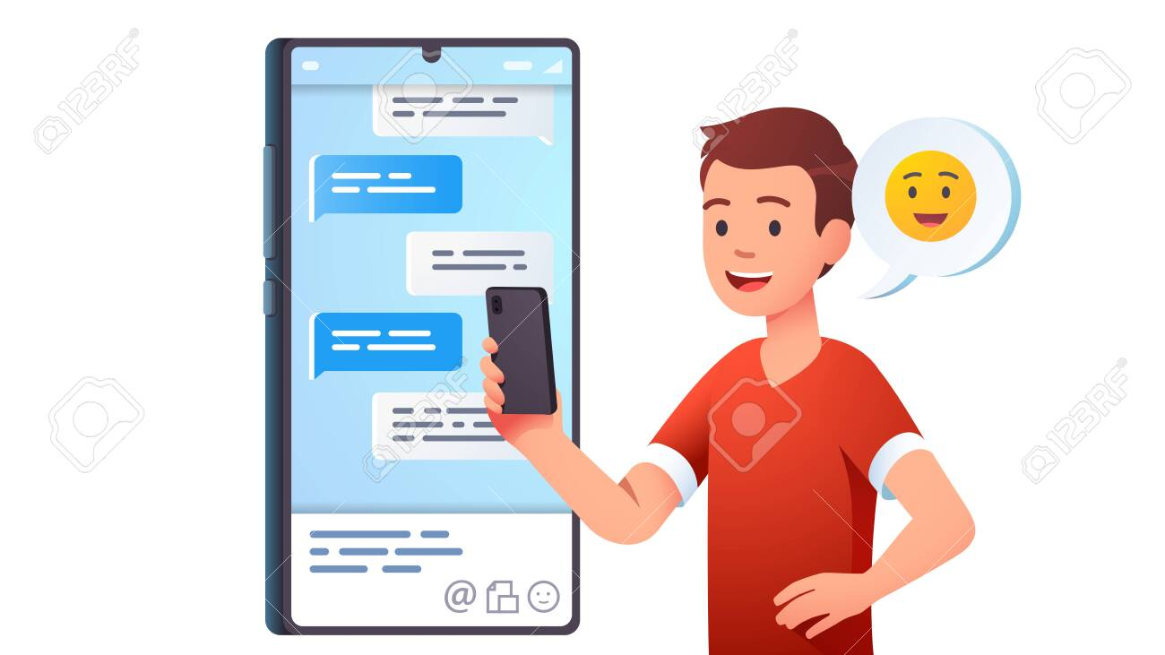 Teen kid chatting messaging using chat app - 153267211