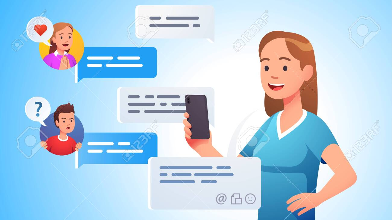 People group chatting messaging using chat app - 153267213