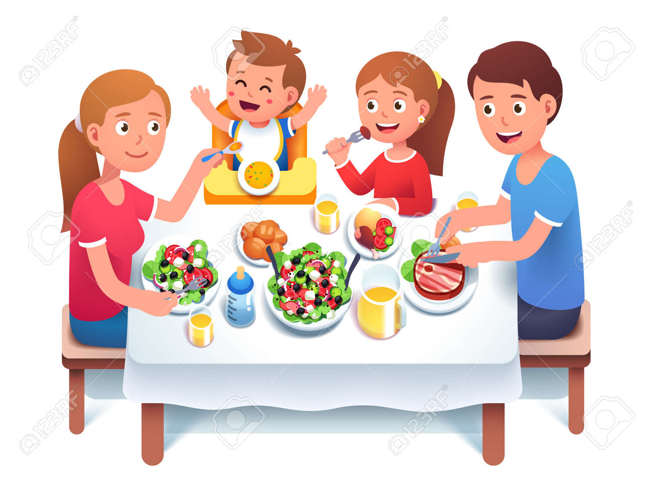Father, mother, kids having family dinner or lunch - 153267221