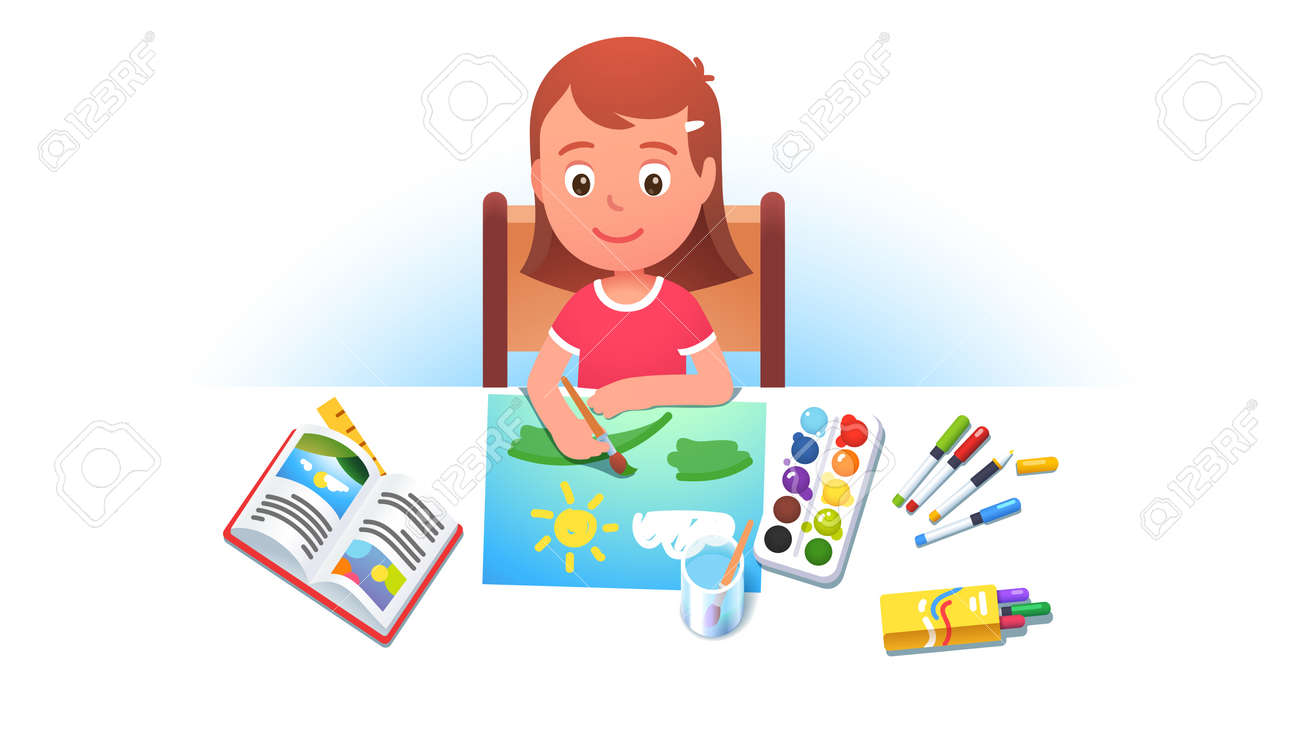 Girl kid sitting at table, painting summer picture - 153267307