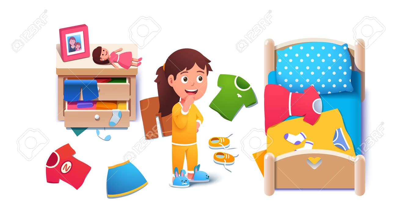 Kid girls untidy messy home room interior - 153267308