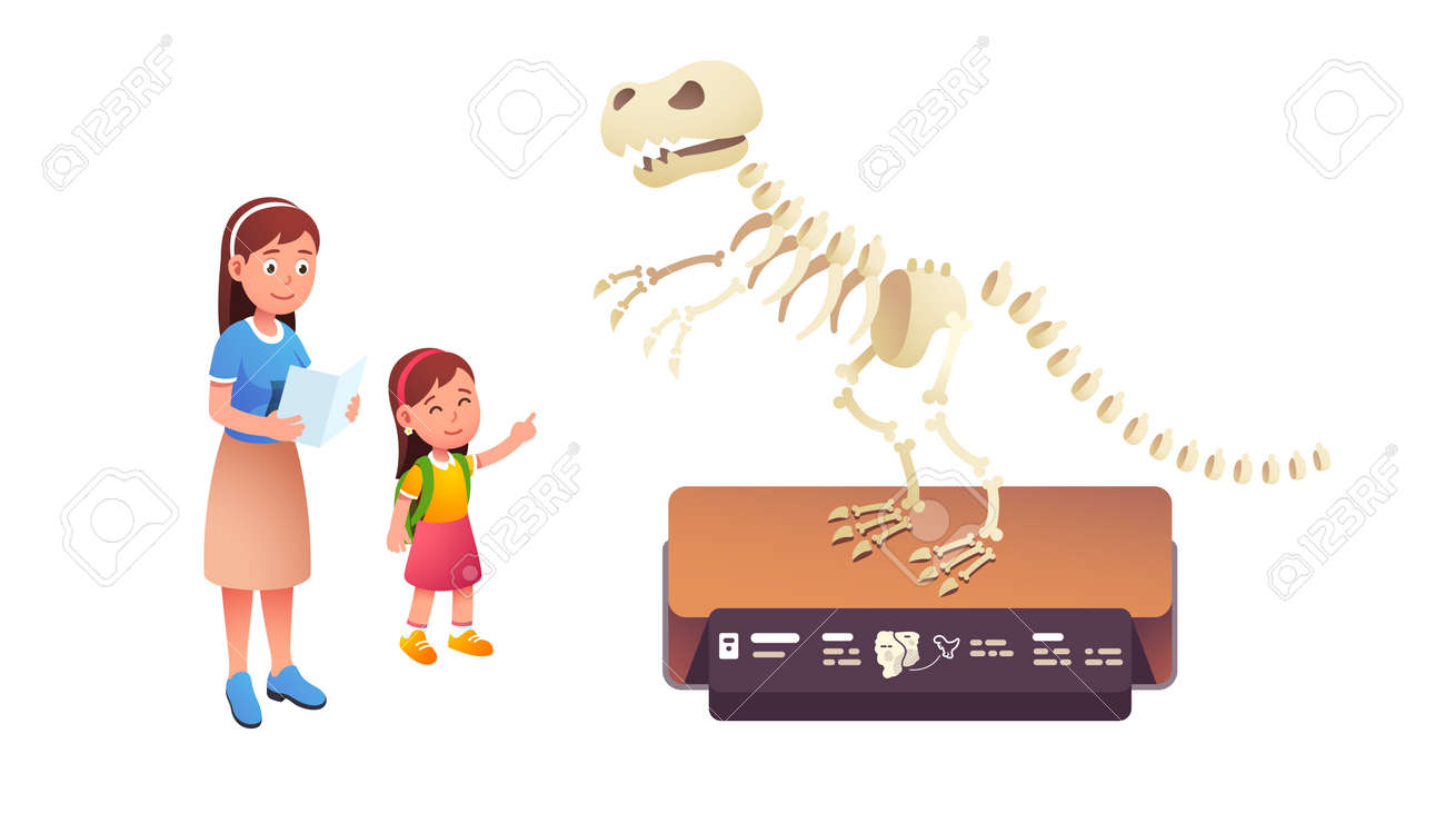 Mom and kid child visiting paleontology museum - 153267312