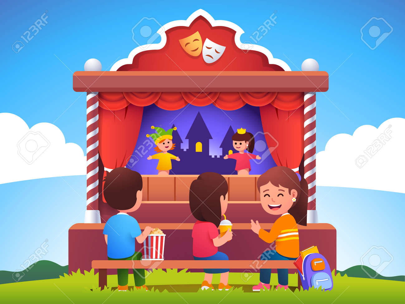 Kids audience watching puppet show on stage - 153267313