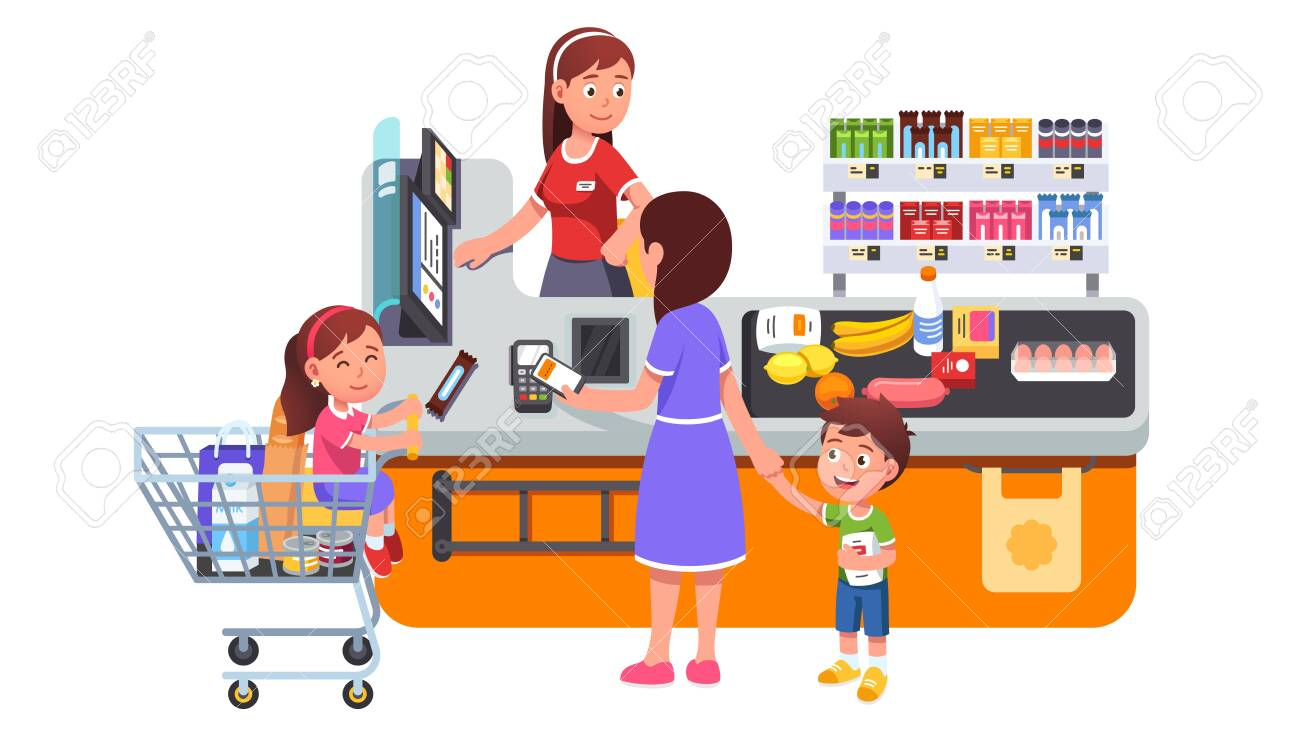 Mother with kids buying groceries at supermarket - 153267316