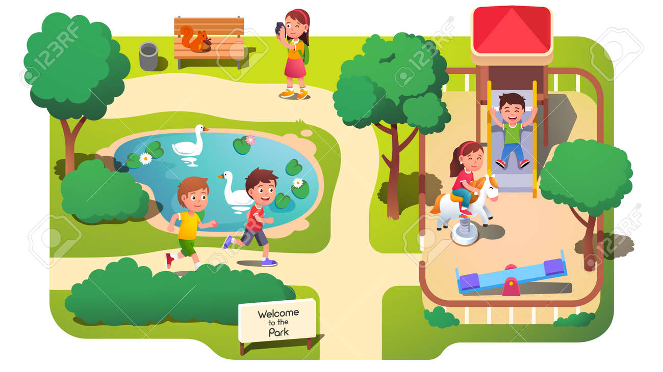 Girls and boys kids having fun in park with pond - 153267320