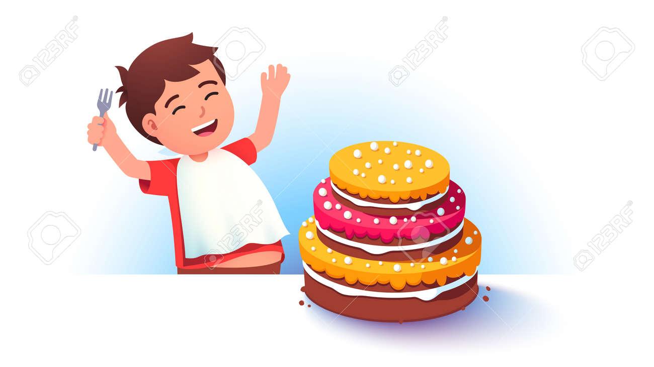 Celebrating boy kid preparing to eat big cake - 153267323