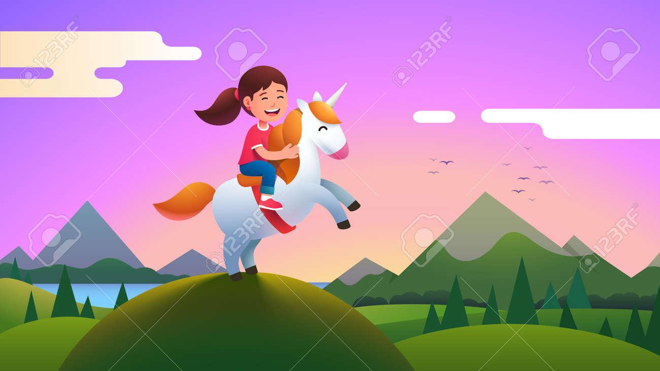 Girl kid riding unicorn on beautiful meadow hill - 153267324
