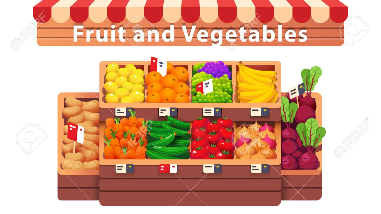 Fruit, vegetables supermarket shop aisle or stall - 153267325