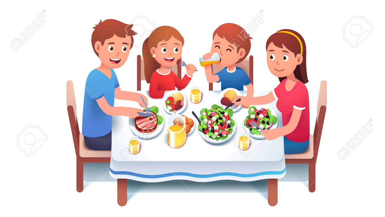 Family having dinner meal together at home - 153287015