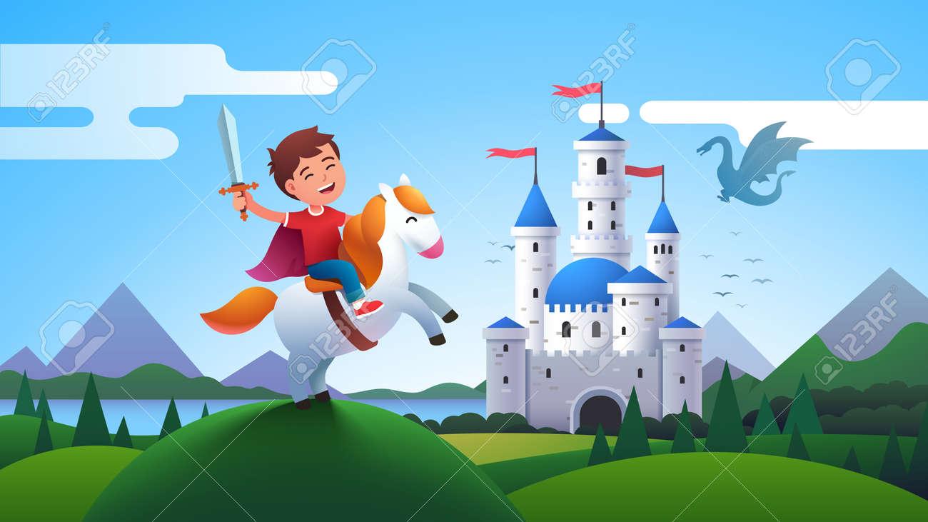 Boy kid medieval horseman knight riding horse - 153287026