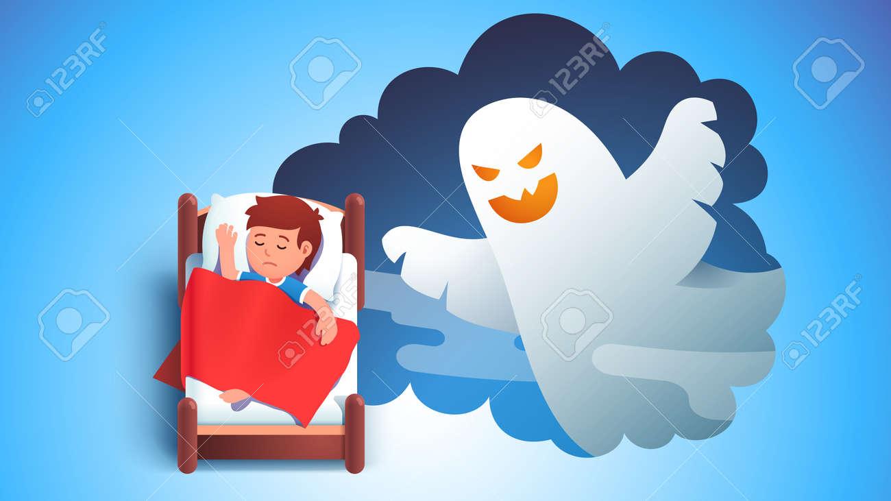 Boy kid sleeping in bed dreaming having nightmare - 153287028
